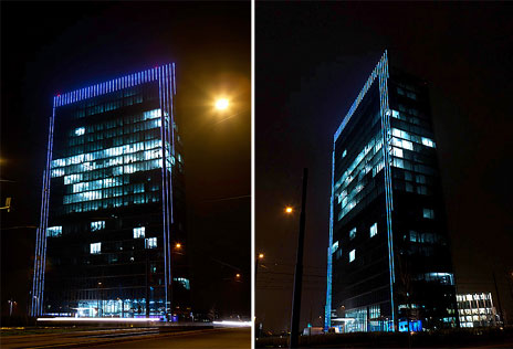 The commissioning of the LED illuminations on Bremen's Weser Tower<br />Picture: A&O Lighting Technology GmbH
