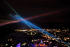 Light bridge illuminated Alpine Skiing World Championships